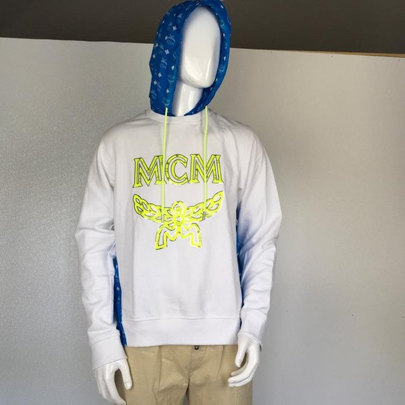MCM Other - MCM Man Hooded Sweat Shirts White Logo T Blue DM4